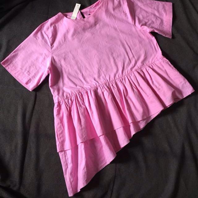 Pink Asymmetric Babydoll Blouse #SSS