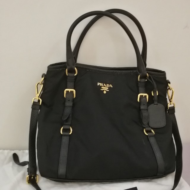 8082aa375f1b Pre-loved Prada Nylon Tessuto Vitello Daino Top Handle Bag BR4993 ...