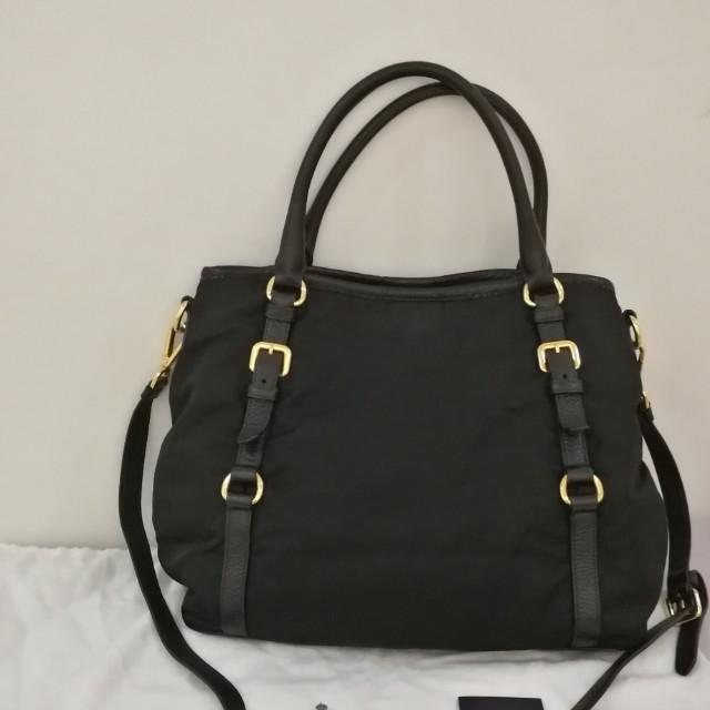 d68b17e02272 Pre-loved Prada Nylon Tessuto Vitello Daino Top Handle Bag BR4993, Luxury,  Bags & Wallets on Carousell