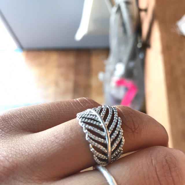 Silver Pandora feather ring