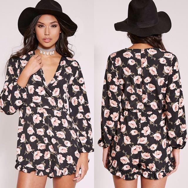 Size 6   Black Floral Playsuit