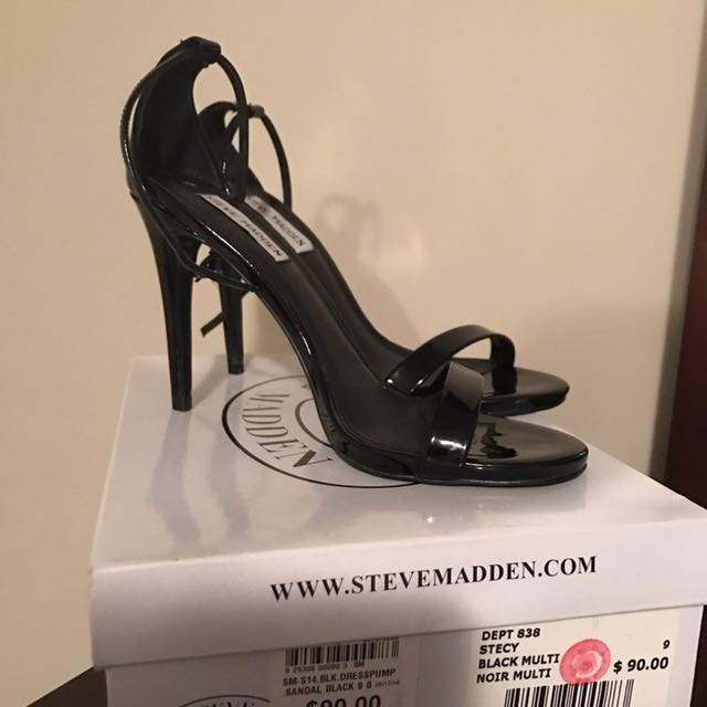 Steve Madden black leather open-toe ankle-strap stilettos with box