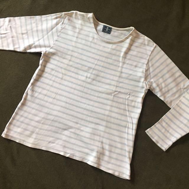 Stripe White Long Sleeve Shirt #SSS