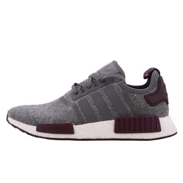 c5199fc42 ... get uk exclusive adidas nmd r1 grey maroon mens fashion footwear on  carousell 02a73 7384f