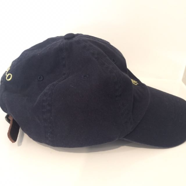 f85bd092c Vintage Navy POLO Cap with rare Leather Strap