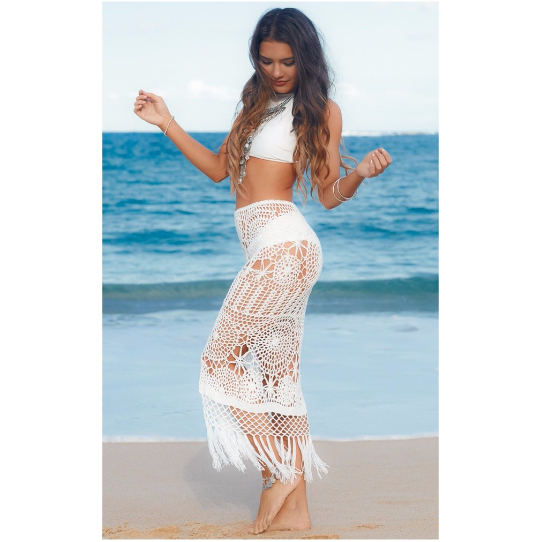 2b1fd7b9422e3 WASHED UP COVER UP SKIRT IN WHITE CROCHET, Women's Fashion, Clothes on  Carousell