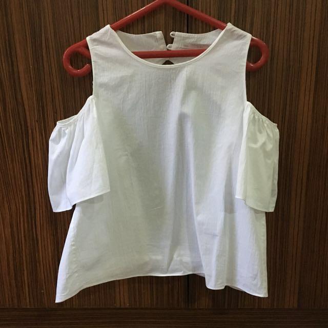 Zara cold shoulder sexy back top