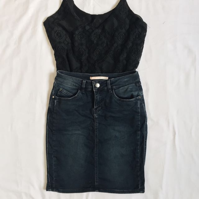ZARA denim High Quality Skirt