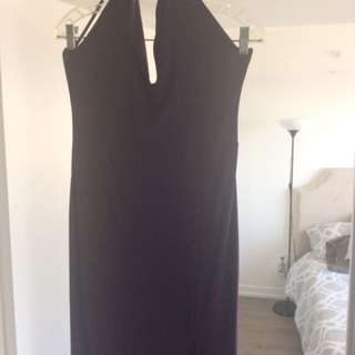 Boohoo UK purple long split dress