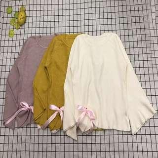 日系*秋新款學院風粉色蝴蝶結寬鬆針織套頭毛衣