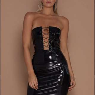 MESHKI Black Leather Latex Dress
