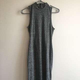 Grey Midi Dress w/ Cut Out Back