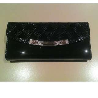 Black Wallet with chain shoulder strap. Glass embellishments