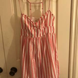 Hollister pink and white striped summer dress