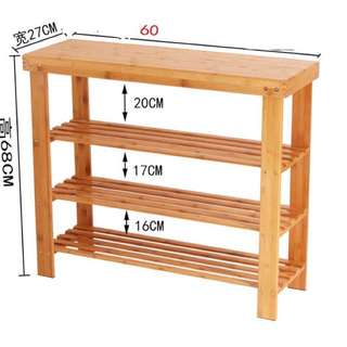 Bamboo shoe rack 60x68x27 3 tier