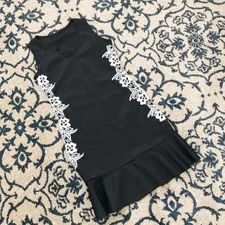黑色蕾絲 魚尾裙擺洋裝 小禮服