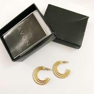金色三環半月形耳針 耳環
