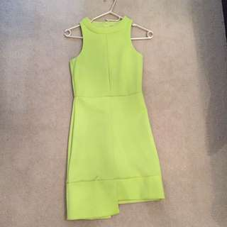 Lime Green Yellow Dress Size 8