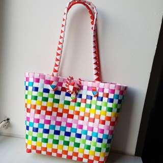 Rainbow color weave basket bag