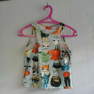 Orignal Get loud cat printed cropped top