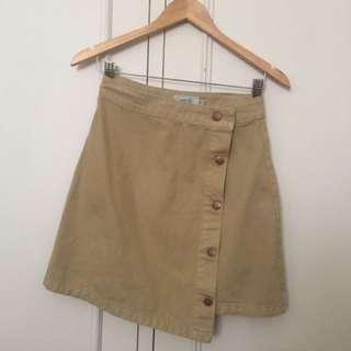 Asymmetric sand denim skirt
