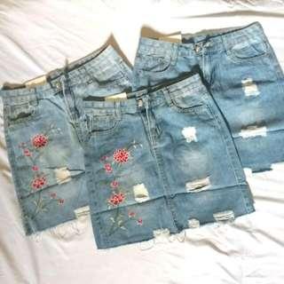 Embroidered Floral Denim Skirt