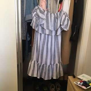 Stripe Ava Off The Shoulder Dress