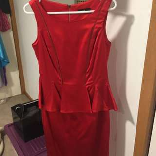 Cue Size 10 satin dress with zip detail and peplum