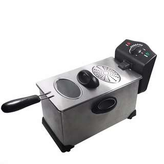 Deep Fryer Electric Stainless Steel Cooker Immersible Basket Kitchen Countertop
