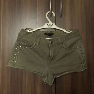 F21 army studded shorts