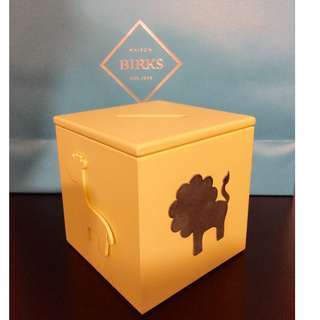 BIRKS BABY Silver Plated + Wood Yellow Money Cube - RETAIL: $175+tax