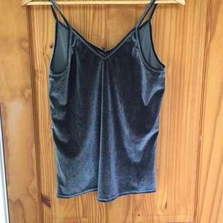 Velvet Silver/Navy Cami top