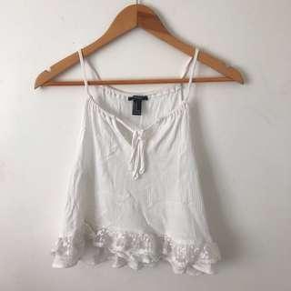 White self-tie cami top