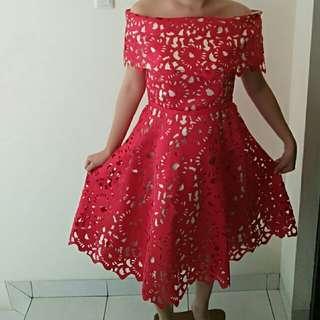 Red Laser Cut Dress