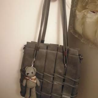 Grey PU leather bag