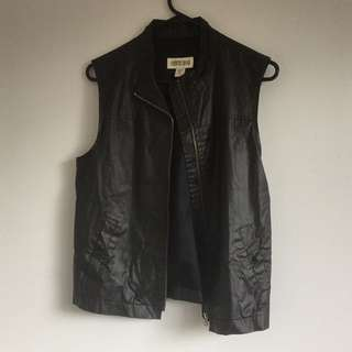 Leather look vest