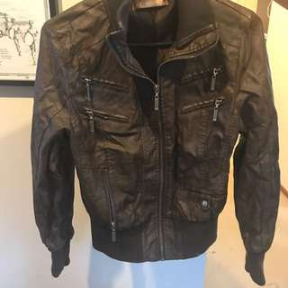 Brown leather jacket (8-10)