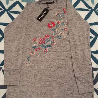 Grey floral embroidered tunic