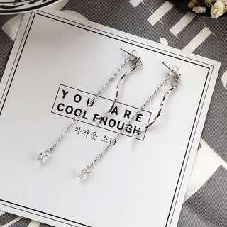 韓 簡約氣質水鑽耳針耳環
