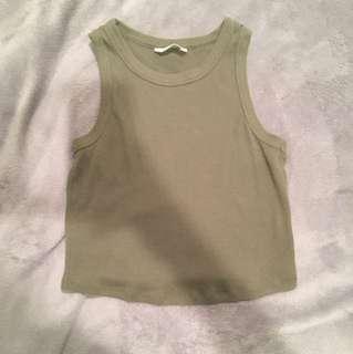 Khaki green sleeveless top