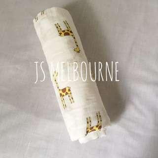 Swaddle Baby Wrap, Swaddling Muslin Blanket, Yellow Giraffe Print