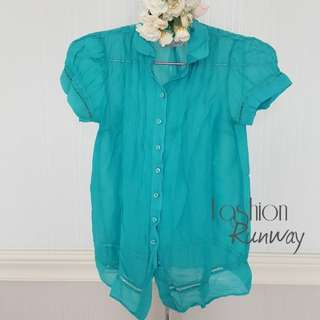 DISKON ZARA TRF Transparent Aqua Blue Shirt