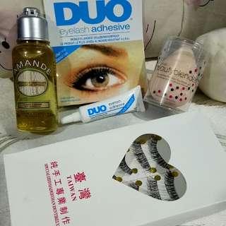 Taiwan False Lashes/eyelash adhesive/beauty blender/Amande Shower Oil (Take All for 200pesos)