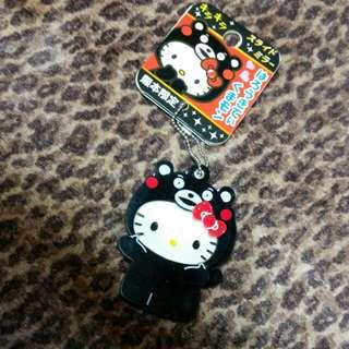 日本帶回熊本熊+KITTY鏡子鑰匙圈吊飾