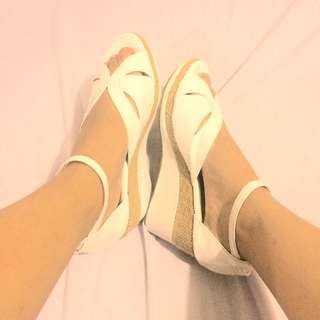 Trendy White Wedge Sandals