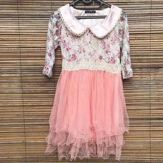 Dress Korea Baby Pink