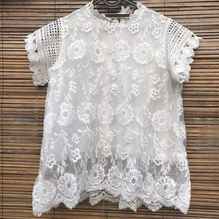 Blouse brokat white