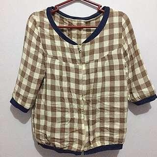 Plaid crop jacket/ cardigan