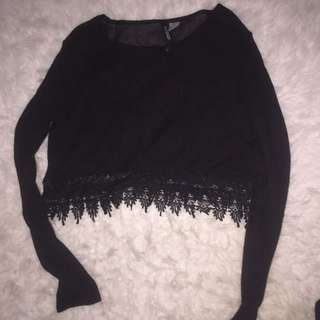 H&M Black Lace Crop Sweater