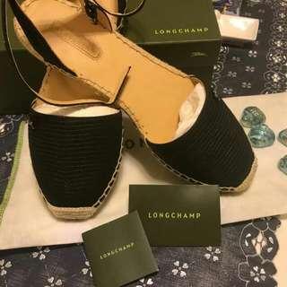 Longchamp Espadrilles Black 黑色平底涼鞋